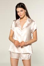 Short Saten Shirt Pyjama - Peach/White