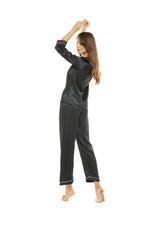 Silky Satin Pyjama with contrast piping - Black/White