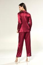 Silky Satin Pyjama with contrast piping - Bordeaux/White