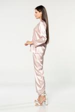 Silky Satin Pyjama with contrast piping - Rose Pink/White