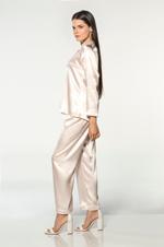 Silky Satin Pyjama with contrast piping - Peach/White