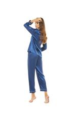 Silky Satin Pyjama with contrast piping - Navy/White