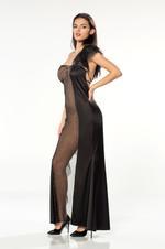 Long Satin & Tulle Nightdress - Black