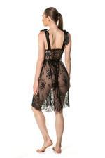 Full Lace Midi Nightdress - Black