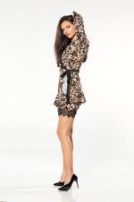 Chiffon Short Nightdress & Robe Set - Leopard
