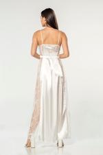 Long Satin Flowery Lace Nightdress - White