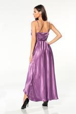 Long Satin Wrap Nightdress - Purple