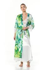 Satan Long Nightdress & Robe Set - Printed-Green/White