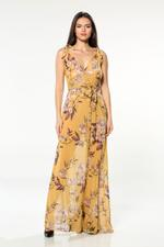 Chiffon Long Nightdress - Printed-Yellow