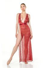 Full lace Long Nightdress - Red