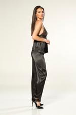 Short Satin 3 Pieces  Pyjama - Black