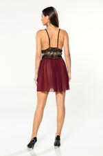 V Neckline Chiffon & Lace Short Nightdress - Bordeau
