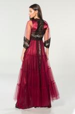 Satin & Tulle Nightdress & Robe Set - Bordeau