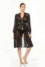 Chiffon & Lace Midi Robe - Black
