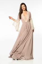 Stretch Cotton Nightdress & Robe Set - Beige
