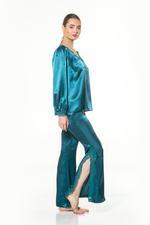 Satin & Lace Long Pyjama Set - Petrol