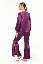 Satin & Lace Long Pyjama Set - Purple