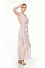 V Neckline Chiffon & Lace Long Nightdress - Rose