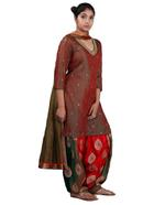 Latha Puttanna Red, Green Embroidered Kurta Patiala Set (AW19-35)