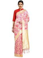 Stylee Lifestyle Cream & Pink Banarasi Silk Jacquard Saree (2087)