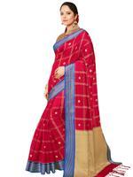 Stylee Lifestyle Red & Blue Banarasi Silk Jacquard Saree (2321)