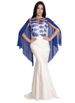 Si Fashion Galerie Royal Blue & White Evening Gown (2031)