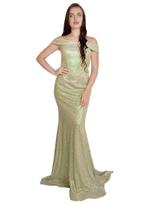 Si Fashion Galerie Green & Gold Evening Gown (04009)