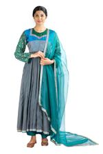 Latha Puttanna Grey & Green Chanderi Kurta Set (SS18-12)