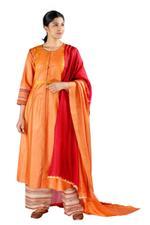 Latha Puttanna Orange Silk Kurta Set (SS18-21)