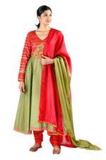 Latha Puttanna Green & Red Silk Kurta Set (SS18-24)