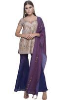 Mandira Wirk Grey & Purple Palazzo Set with Dupatta (MW/FW-A005)