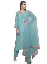 Mandira Wirk Light Blue Kurta with Pants & Dupatta (MW/FW-A006)