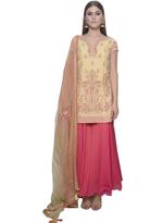 Mandira Wirk Yellow & Pink Palazzo Set with Dupatta (MW/FW-A009)