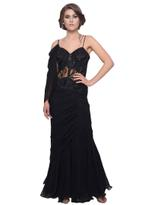 Mandira Wirk Black Embroidered One-Shoulder Draped Saree (MW/SC-006)