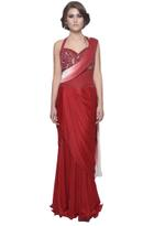 Mandira Wirk Red & White Ombre Draped Saree (MW/CF-007)