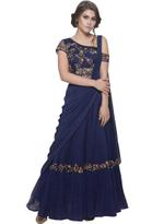 Mandira Wirk Navy Blue Shimmer Draped Saree (MW/CF-004_BLUE)