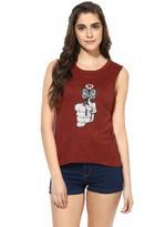 LoveGen Maroon Printed T-Shirt (71ABTS27)