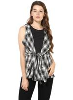 LoveGen Black & White Checked Jacket-style Top(81AH41)