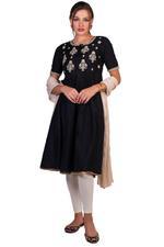 Imara Black & Off-White Embroidered Anarkali Set (A18LINCKD119A)
