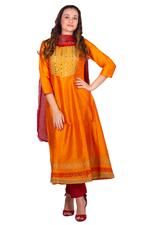 Imara Orange & Red Embroidered Anarkali Set (A18UTSCKD859)