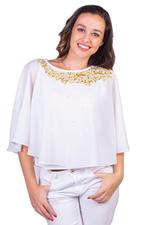 Imara White Embroidered Top (A18UTSTP846A)