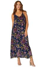 Elvi Navy Blue Eris Floral Print Gathered Back Slip Dress (AW18/02/DS19)