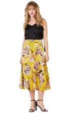 Elvi Yellow Ariel Floral Print A-Line Skirt (AW18/02/SK15)