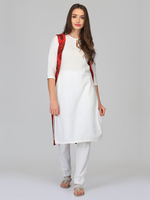 Abhishti White & Red Cotton Linen Kurta,  Jacket & Pants Set (ABI-ST269)
