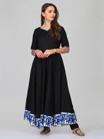 Abhishti Black Cotton Linen Anarkali Kurta with Pants (ABI-ST272)