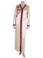 Laila Fashion by Unique Designer Beige & Maroon Satin Silk Moroccan Kaftan (123456819)
