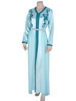 Laila Fashion by Unique Designer Turquoise Blue Satin Silk & Chiffon Moroccan Kaftan with Belt (123456925)