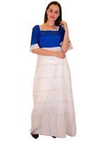 Livia Fashion by Unique Designer White & Blue Embroidered & Colorblocked Nightwear Kaftan (123456979)