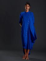 Mati Royal Blue Buttoned Ooch Neech Aakaar  (MTBONA R BLUE)