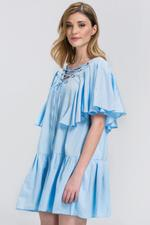 OwnTheLooks Blue V-Lace Up Ruffled Dress (549A)